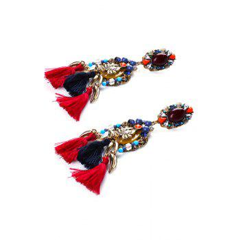 Pair of Retro Faux Crystal Tassel Earrings - COLORMIX