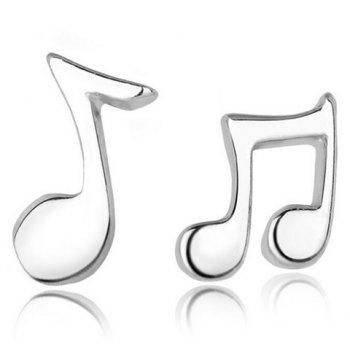 Pair of Music Note Shape Asymmetric Earrings