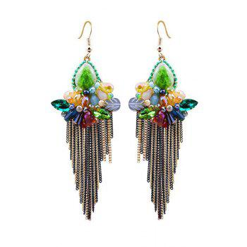 Pair of Faux Crystal Flower Fringed Earrings