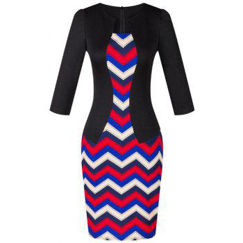 OL Jewel Neck 3/4 Sleeve Wave Printed Women's Faux Twinset Design Dress