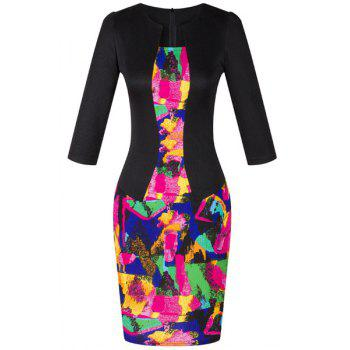 OL Jewel Neck 3/4 Sleeve Colored Printed Women's Faux Twinset Design Dress
