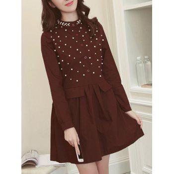 Stand Collar Beaded Wine Red Long Sleeve Dress For Women