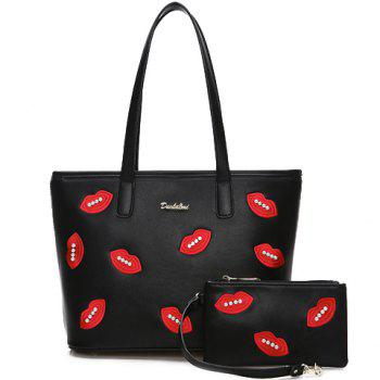 Casual PU Leather and Lips Design Shoulder Bag For Women