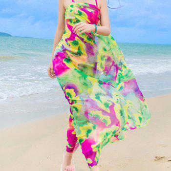 Chic Colorful Flowers Painting Printed Women's Chiffon Sarong
