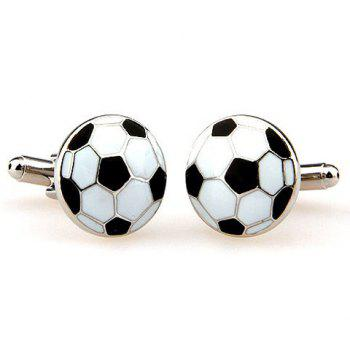 Pair of Stylish Football Shape Embellished Men's Alloy Cufflinks