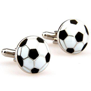 Pair of Stylish Football Shape Embellished Men's Alloy Cufflinks -  WHITE/BLACK