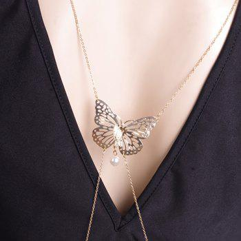 Stylish Faux Pearl Butterfly Shape Body Chain For Women