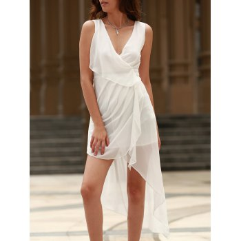 Sexy V-Neck Sleeveless Draped Asymmetrical Women's Dress