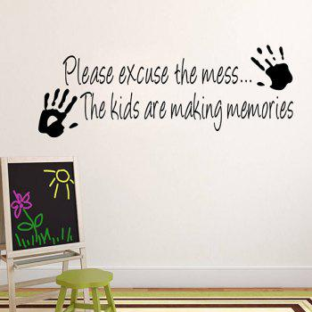 High Quality Solid Color Letter Pattern Removeable Kindergarten Background Wall Sticker - BLACK