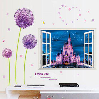 High Quality Castle Pattern Window Shape Removeable 3D Wall Sticker - COLORMIX