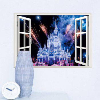 High Quality Castle Pattern Window Shape 3D Removeable Wall Sticker - COLORMIX