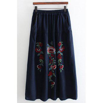 Stylish High Waist Floral Embroidered Cotton Fabric Women's Skirt