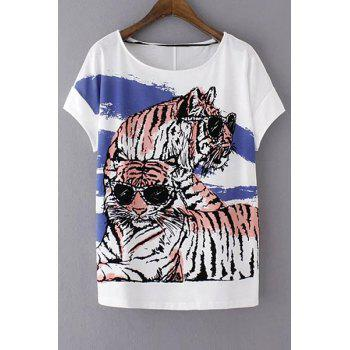 Stylish Round Neck Short Sleeve Loose Tiger Print Women's T-Shirt