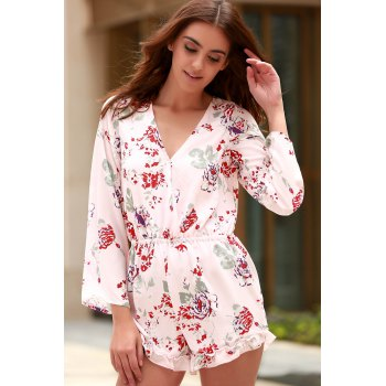 Stylish Cross-Over Collar Long Sleeve Floral Women's Playsuit