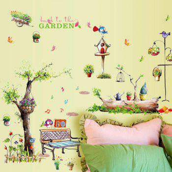 High Quality Cartoon Garden Pattern Removeable Wall Stickers - COLORMIX