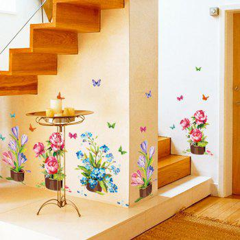 High Quality Cartoon Potted Flowers Pattern Removeable Wall Stickers - COLORMIX
