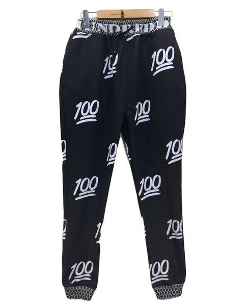 Sports Style Narrow Feet Lace Up Number Printed Jogging Pants For Men