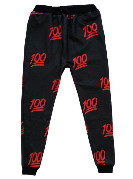 Sports Style Narrow Feet Number Printed Lace Up Jogging Pants For Men - RED/BLACK XL