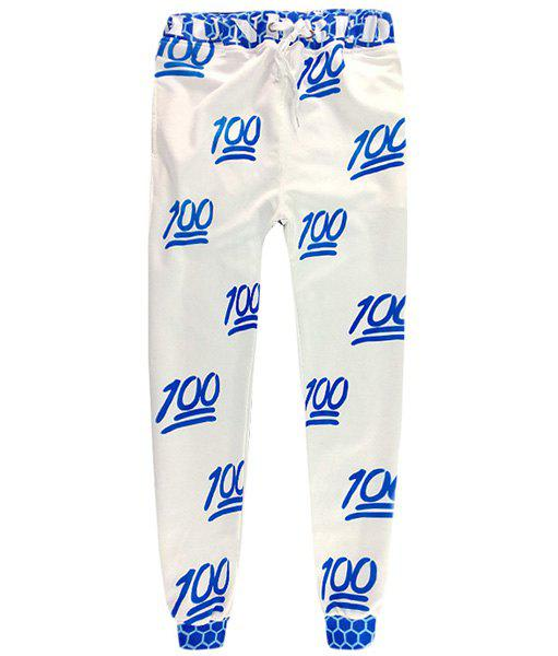 Men's Sports Style Narrow Feet Number Printed Lace Up Jogging Pants - BLUE/WHITE L