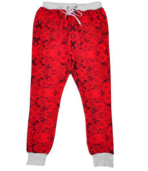 Men's Sports Style Narrow Feet Rose Printed Lace Up Jogging Pants - RED XL