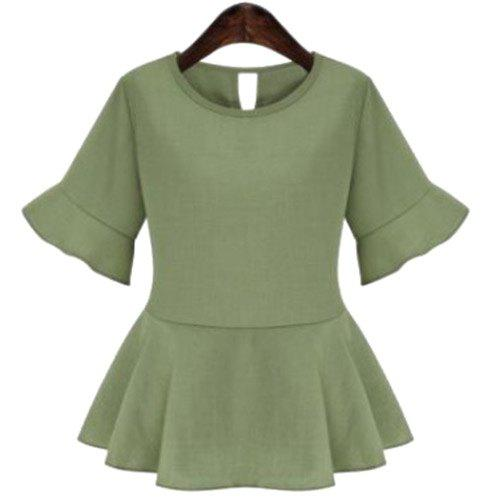Trendy Scoop Neck Bell Sleeves Flounce Women's Blouse - OLIVE GREEN L