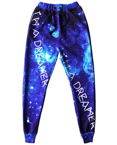 Men's Sports Style Starry Sky Printed Narrow Feet Lace Up Jogging Pants - BLUE S