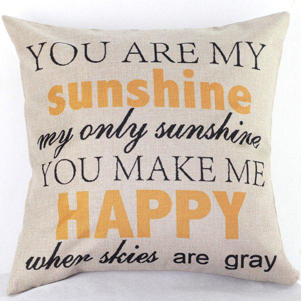 High Quality Letters Pattern Printed Linen Cotton Pillow Case(Without Pillow Inner) - COLORMIX