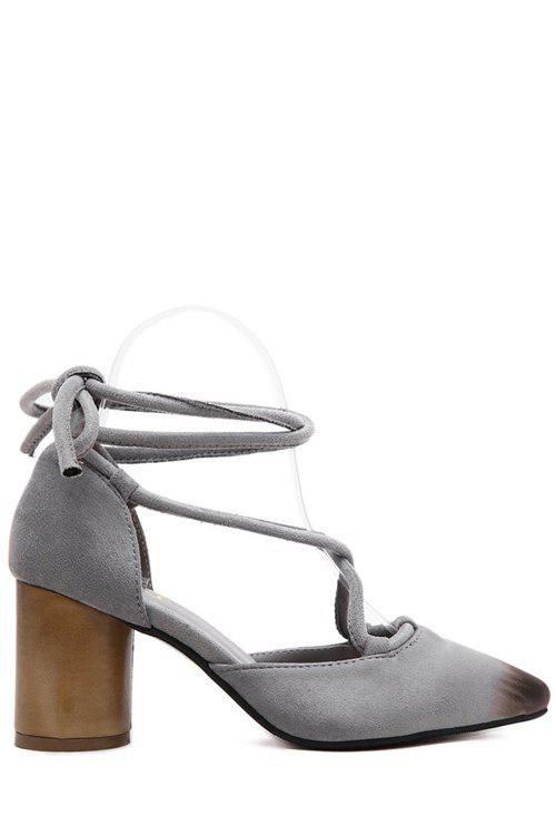 Charming Cross-Strap and Chunky Heel Design Pumps For Women - GRAY 38
