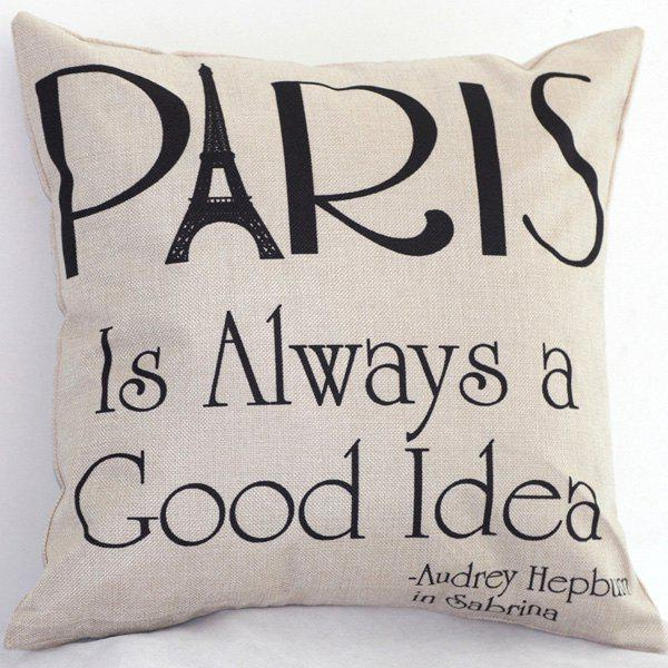 High Quality Letters Printed Linen Cotton Pillow Case(Without Pillow Inner) -  COLORMIX