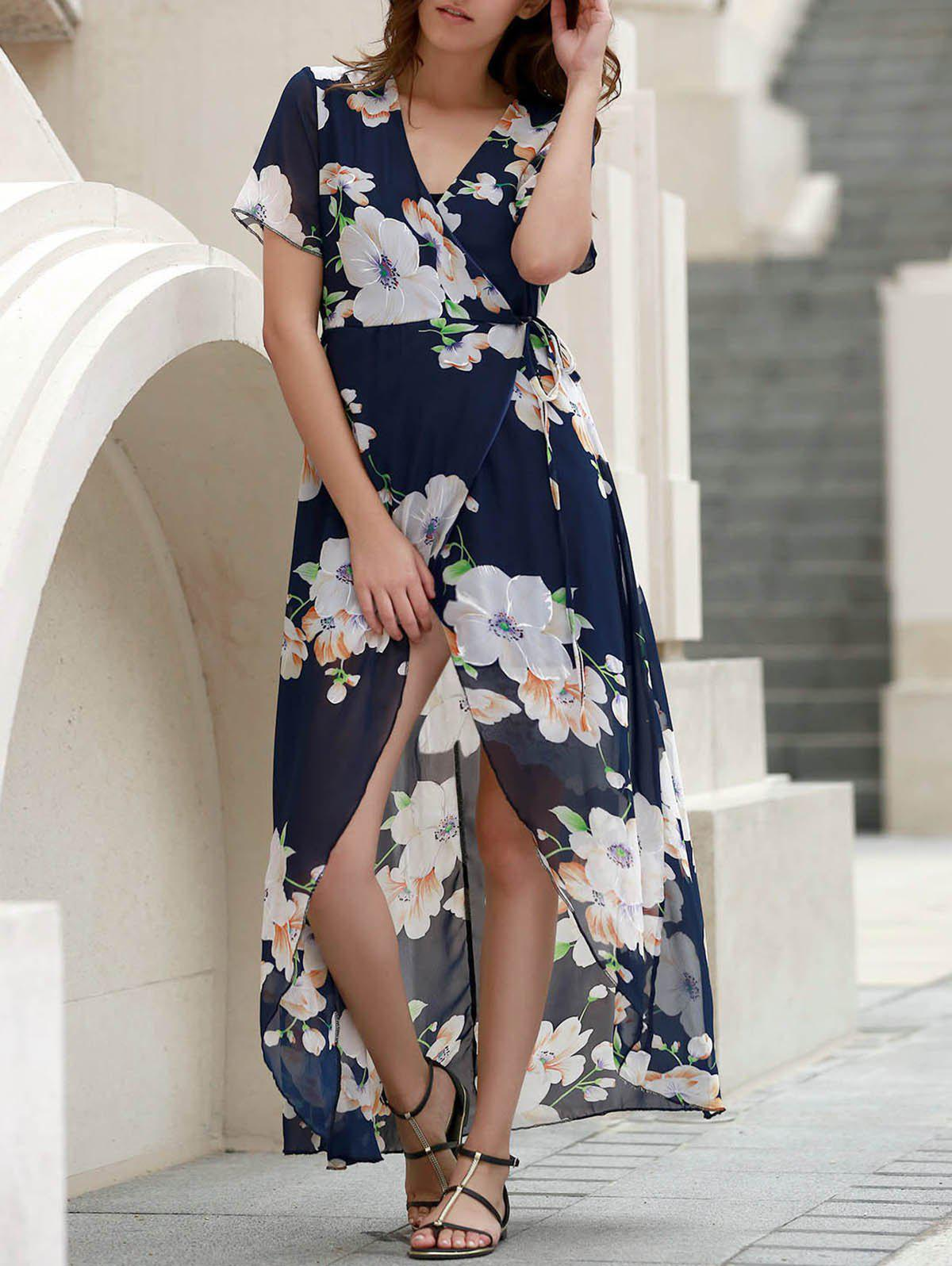 Sexy Women's V-Neck Short Sleeve Floral Printed High Slit Dress