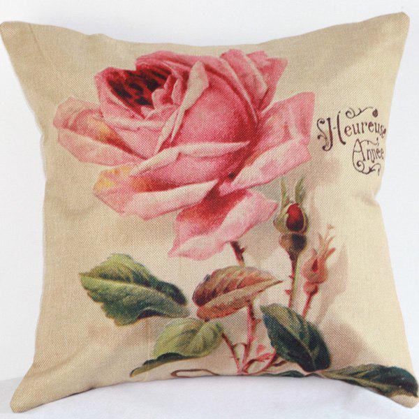 High Quality Pink Rose Pattern Flax Pillow Case(Without Pillow Inner)