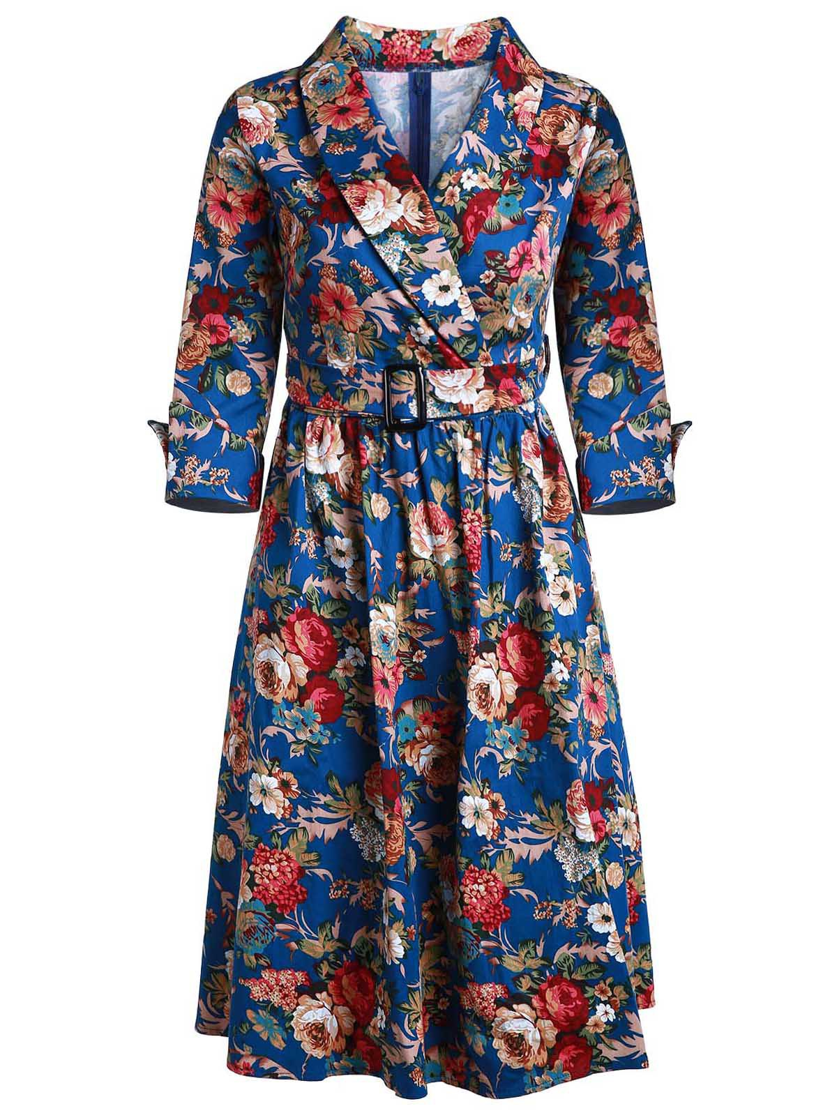 Vintage Style 3/4 Sleeve Shawl Collar Flower Pattern Women's Dress - DEEP BLUE L