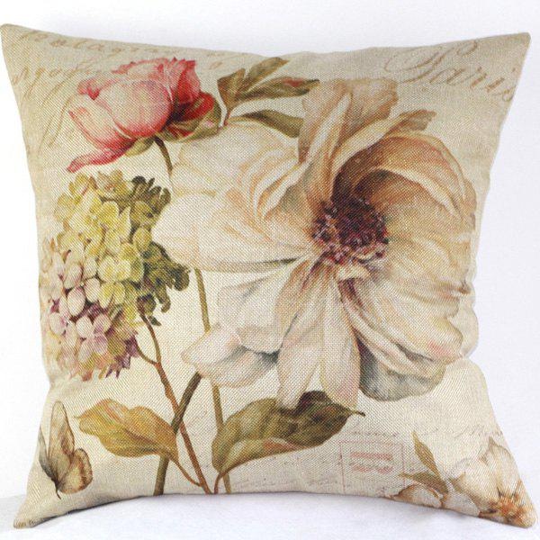 High Quality Flower Pattern Flax Pillow Case(Without Pillow Inner)