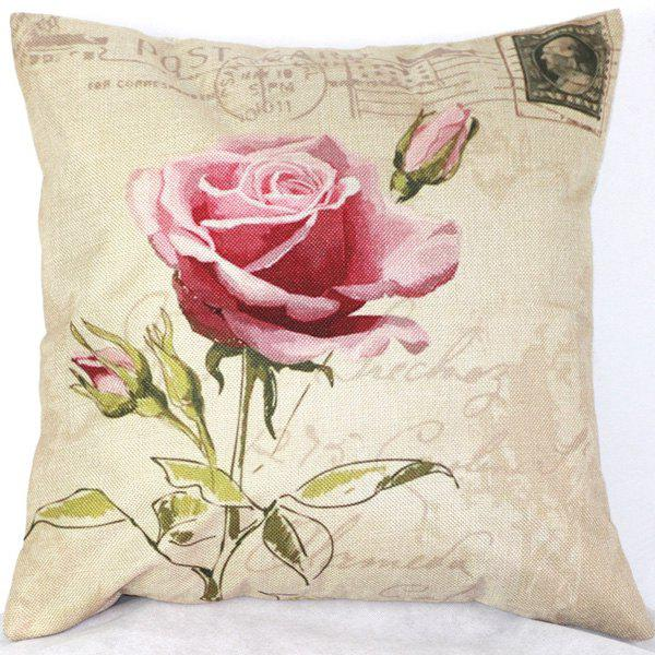 High Quality Pink Rose Pattern Printed Flax Pillow Case(Without Pillow Inner)