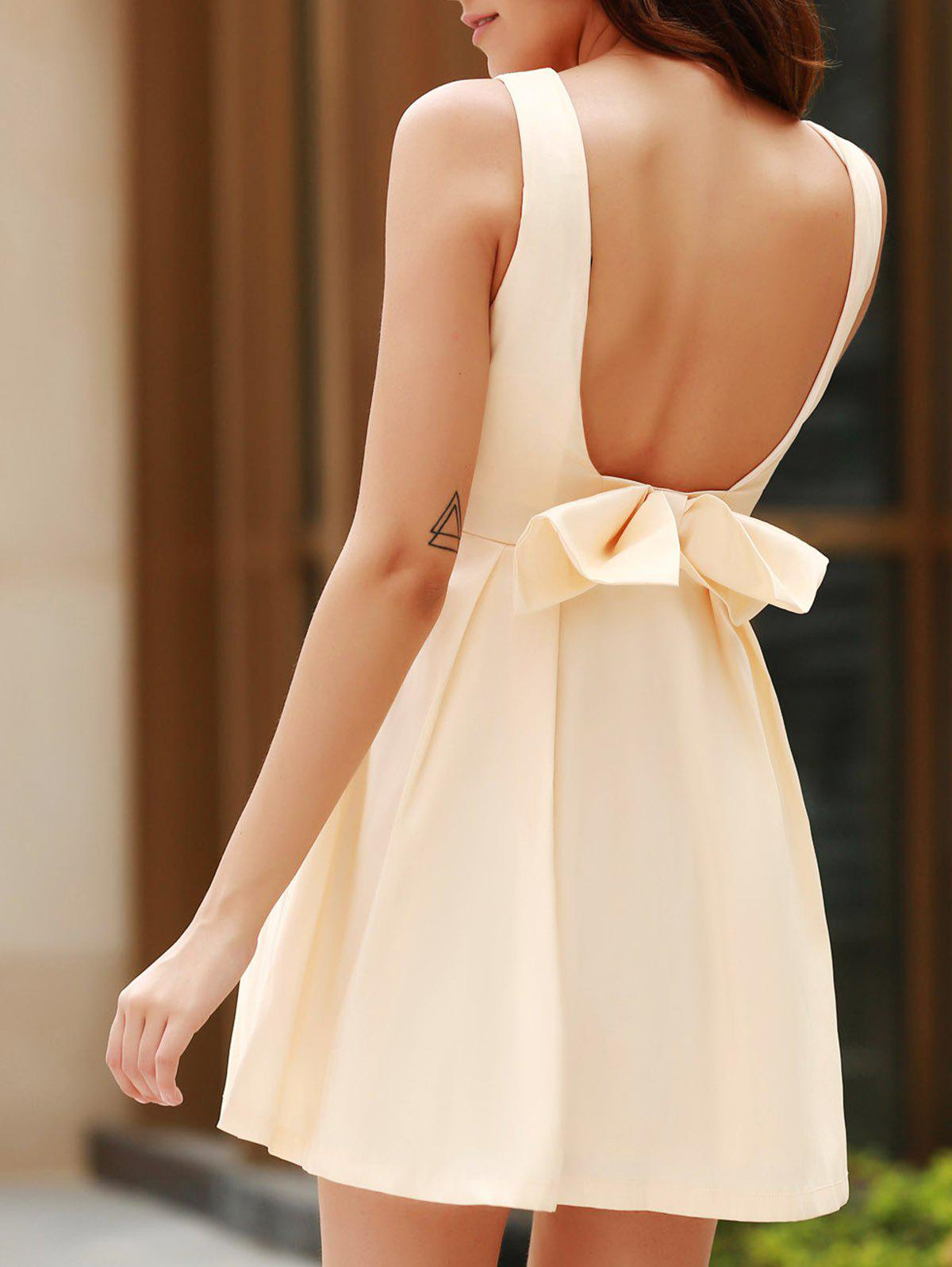 Sexy Round Neck Sleeveless Backless Bowknot Design Women's Dress sexy round neck sleeveless backless bowknot design women s dress