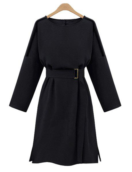 Elegant Women's Round Collar A Line Long Sleeve Dress - CADETBLUE XL