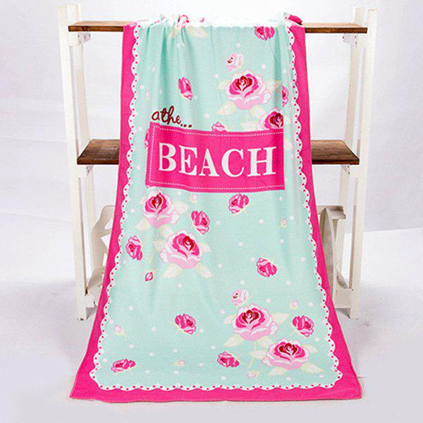 Chic Polka Dot Letter and Rose Pattern Rectangle Shape Beach Towel - ROSE