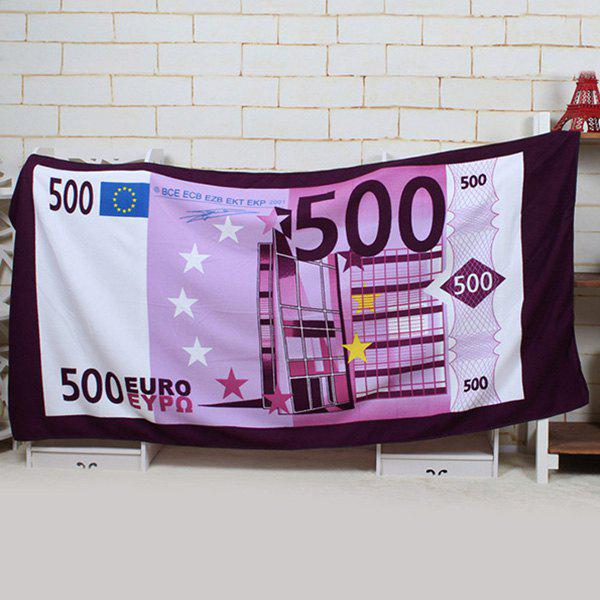 Creative Sunbathing Spa 500 Euro Pattern Rectangle Shape Beach Towel - LIGHT PURPLE