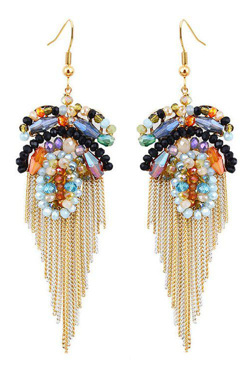 Pair of Exquisite Faux Crystal Flower Tassel Earrings For Women - COLORMIX