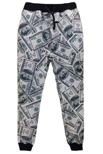 Men's Dollar Printed Sports Style Narrow Feet Lace Up Jogging Pants - GREY/WHITE M