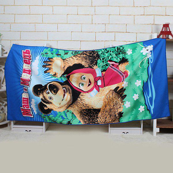 Creative Bear and Little Girl Pattern Rectangle Shape Beach Towel - BLUE