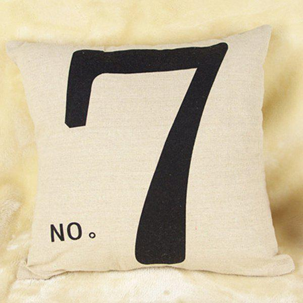 High Quality Number 7 Pattern Printed Flax Pillow Case(Without Pillow Inner) - COLORMIX
