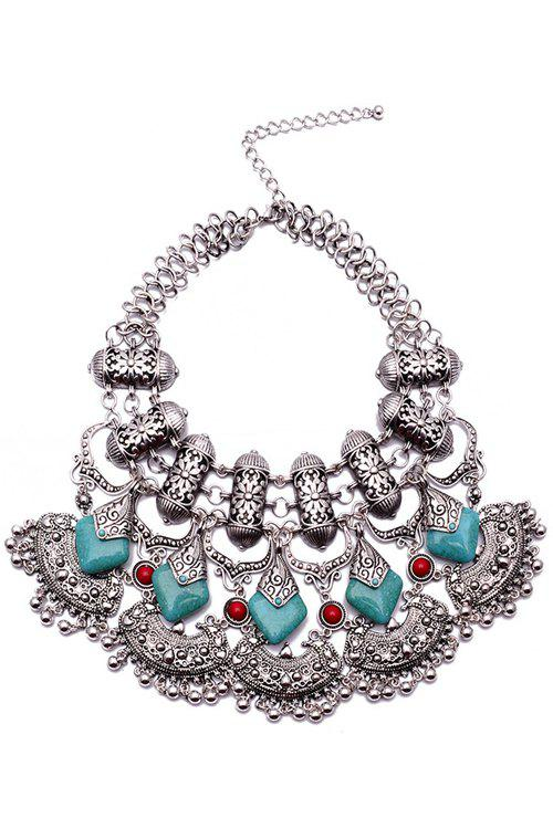 Retro Chunky Carving Lock Tassel Necklace For Women - SILVER