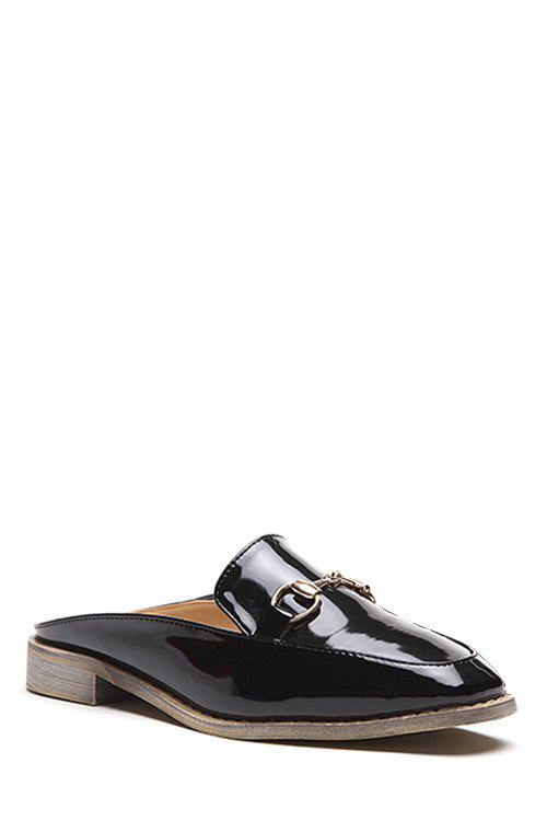 Leisure Metallic and Round Toe Design Slippers For Women - BLACK 39