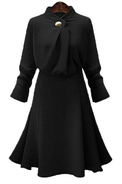 OL Style Women's Stand Collar A Line Long Sleeve Dress - BLACK L