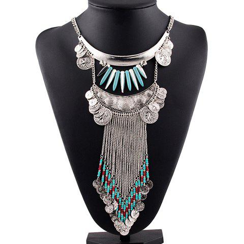 Faux Turquoise Coins Bullet Necklace - SILVER