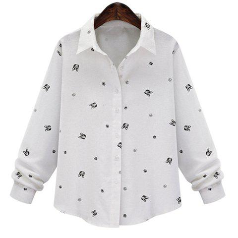 Brief Women's Polo Collar Animal Print Long Sleeve Blouse - WHITE 5XL