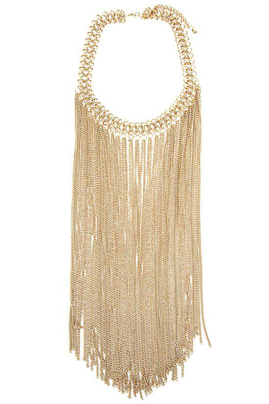 Fringed Link Chain Necklace - GOLDEN