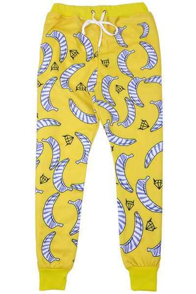 Men's Banana Printed Sports Style Narrow Feet Lace Up Jogging Pants - YELLOW M