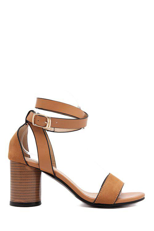 Simple Solid Color and Chunky Heel Design Sandals For Women - LIGHT BROWN 36